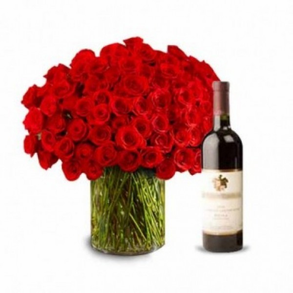 100 Red Roses with Glass Vase and Bottle Of Red Wine
