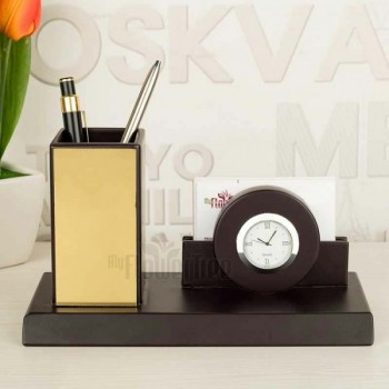 Designer Table Pen Stand with Watch