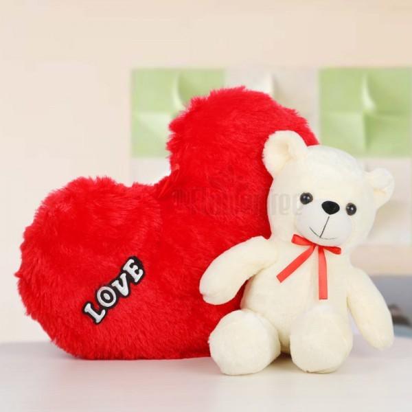 Heart Shape Cushion with Teddy Bear