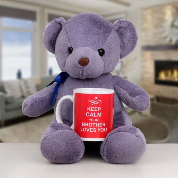 Purple Teddy Bear with Printed White Mug for Sister