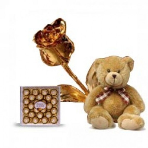 Teddy Bear with 24 Pcs Ferrero Rocher Chocolate and Gold Rose
