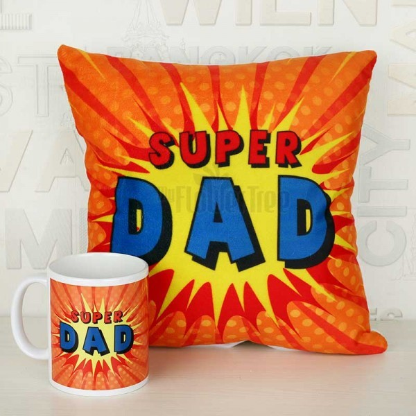 Super Dad Printed Mug and Cushion