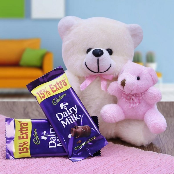 Combo of 2 Cadbury Dairy Milk Chocolates (13.2 Gms Each) and 2 Teddy Bear ( 12 inches and 6 inches)