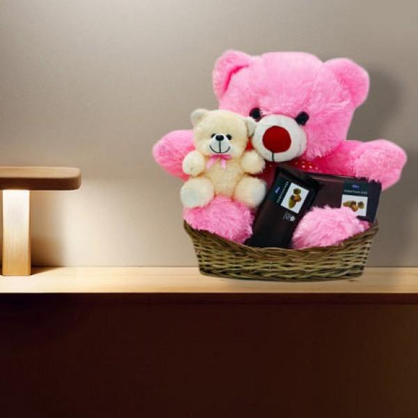 Teddy Bear with Chocolate Basket