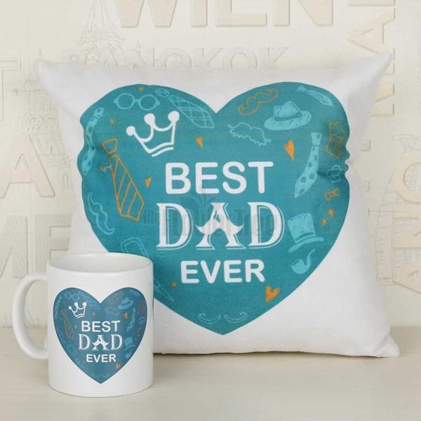 Best Dad Ever Printed Cushion and Mug