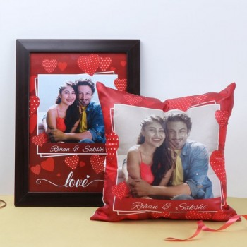 Combo of Personalised Cushion and A4 Size Photo Frame