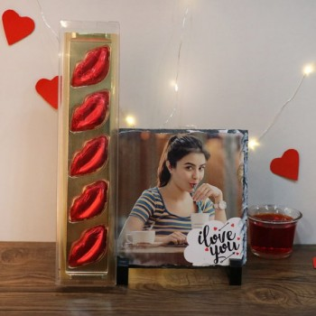 Personalised Photo Stone with I Love You Printed and 5 Lips Shape Assorted Chocolate Pack