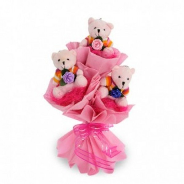 Bouquet of 6 inches 3 Teddy Bear in Paper Packing