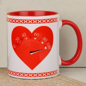 One Personalised Red Handle Ceramic Coffee Mug