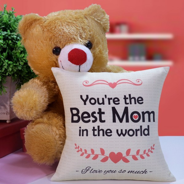 Cushion and Teddy Bear for Mother