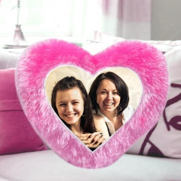 Heart Shape Personalised Fur Cushion