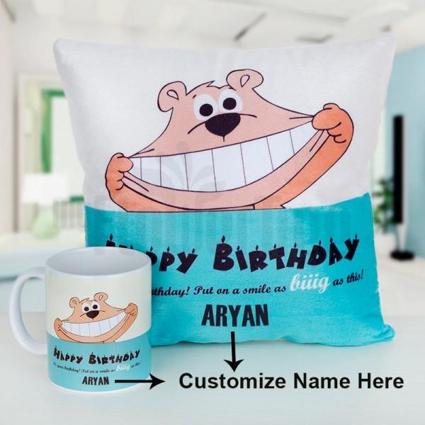 Personalised Mug and Cushion for Birthday