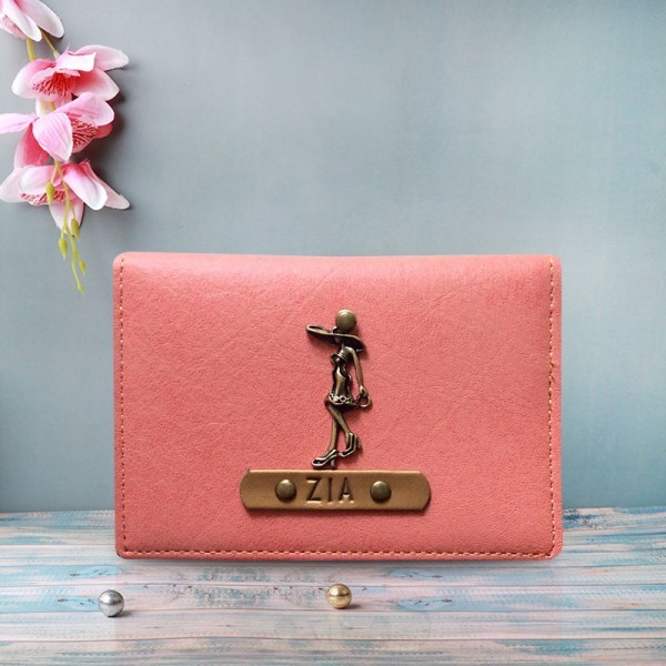 One Personalised Pink Coloured Card Holder For Women