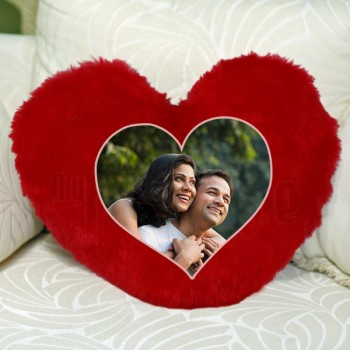 Personalised Heart Shape Red Fur Cushion