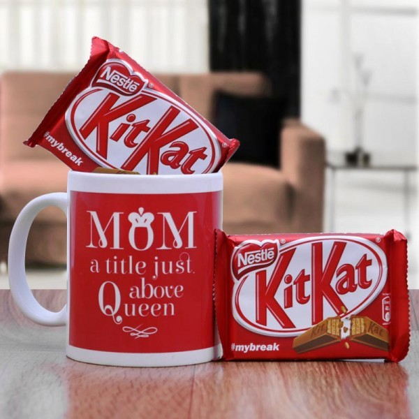 Kitkat Chocolate with Mom Printed Mug