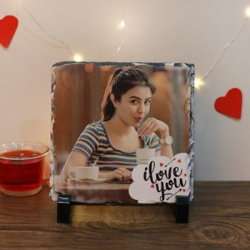 Personalised Square Shape Photo Stone with I Love You Printed