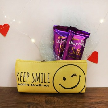 Smiley Pouch with 2 Dairy Milk Silk Chocolate