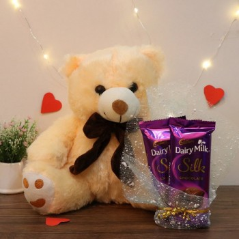 12 inches Cream Teddy Bear with 2 Dairy Milk Silk Chocolate
