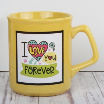 "One ""I Love You Forever"" Quote Printed Yellow Ceramic Mug"