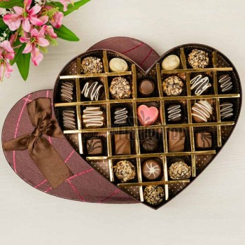 27 Assorted Homemade Chocolates in Heart Shaped Box