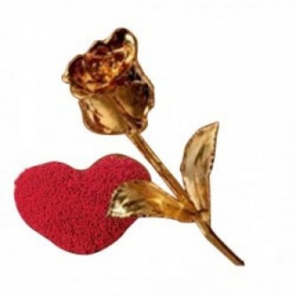 Heart Shape Pillow with Gold Rose