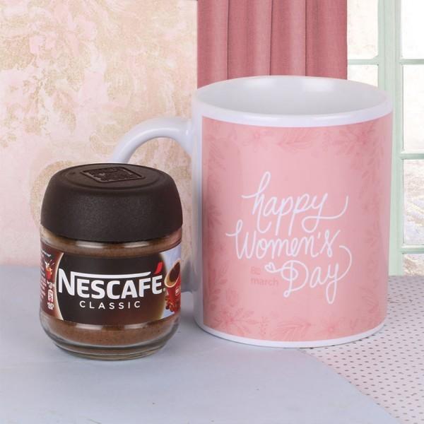 Happy Womens Day Mug with Nescafe Coffee