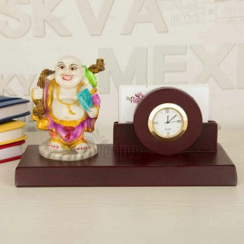 Designer Table Pen Stand with Laughing Buddha and Watch