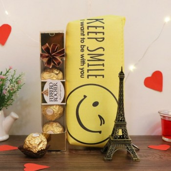 Chocolate Hamper of 4 pcs Ferrero, Smiley Pouch and Eiffel Tower Statue