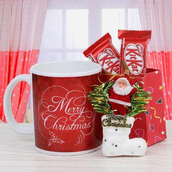 Merry Christmas Printed Mug with Kitkat Chocolate and Santa Claus