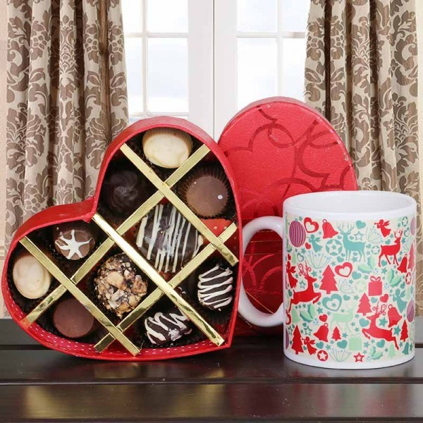 Merry Christmas Printed Mug with Homemade Chocolates