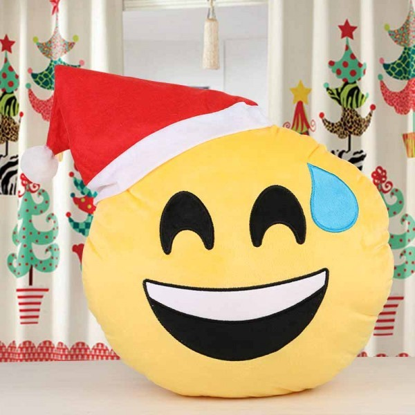 Smiley Cushion with Santa Cap for Christmas