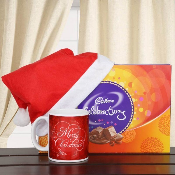Merry Christmas Printed Mug with Santa Cap and Cadbury Celebration