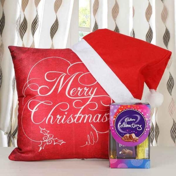 Merry Christmas Printed Cushion with Santa Cap and Cadbury Celebration