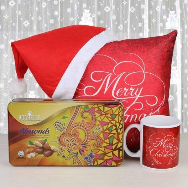 Merry Christmas Cushion, mug with Sapphire Dryfruit Chocolate and Santa Cap
