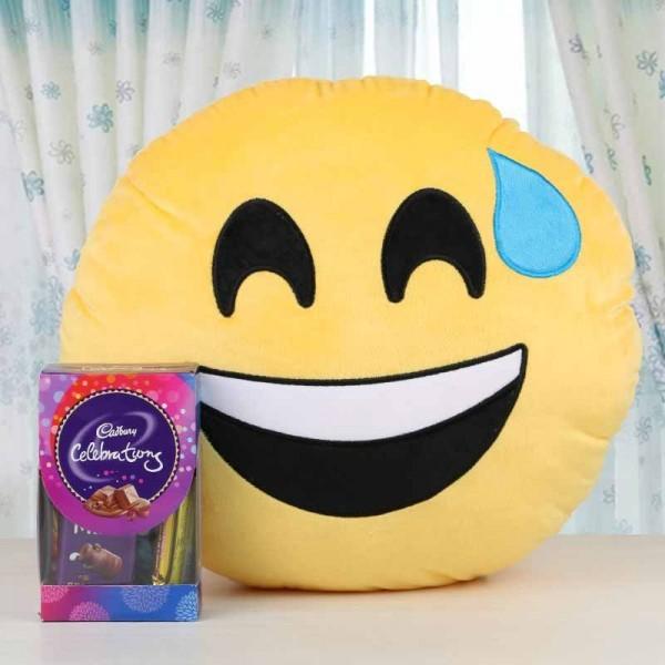 Emoji face Cushion with Cadbury Celebration