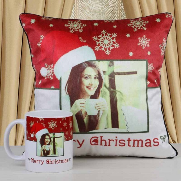 Combo of Personalised Cushion and Coffee Mug for Christmas