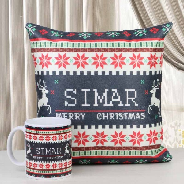 Personalized Name Mug and Personalized Name Cushion for Christmas