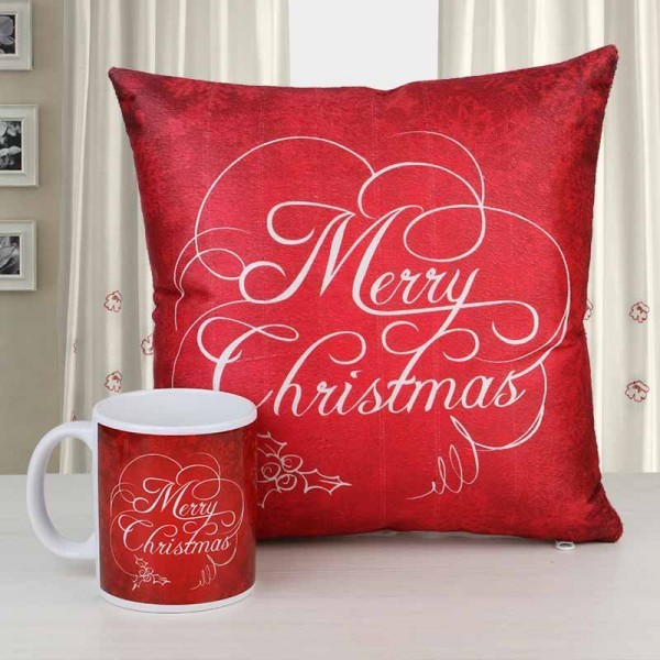 Merry Christmas Printed Mug and Cushion