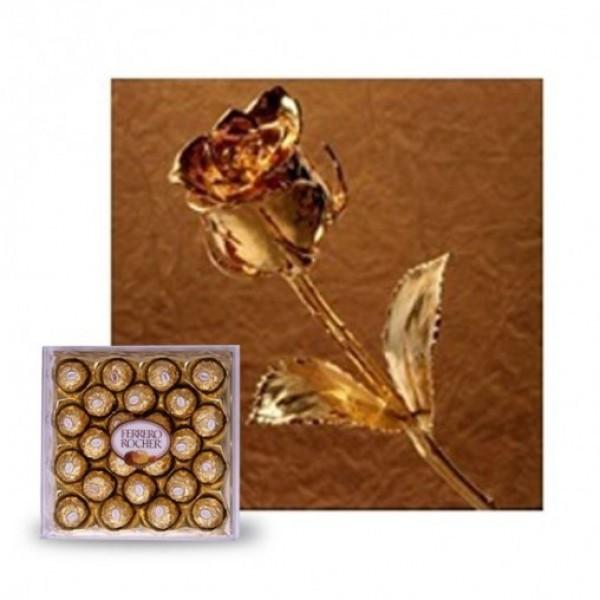 Gold Rose with 24 pcs Ferrero Rocher