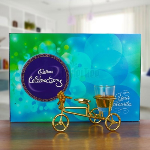Cycle Candle Stand with Cadbury Celebration