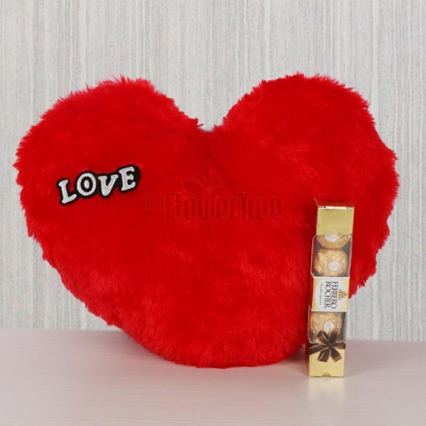 Heart Shape Cushion with 4 Pcs Ferrero Rocher Chocolate