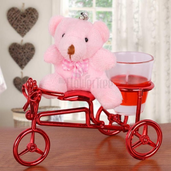 Cycle Candle Stand with Teddy Bear