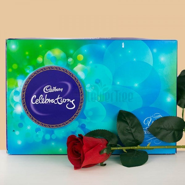 One Cadbury Celebrations Pack (141 Gms) and 1 Artifical Rose Stem