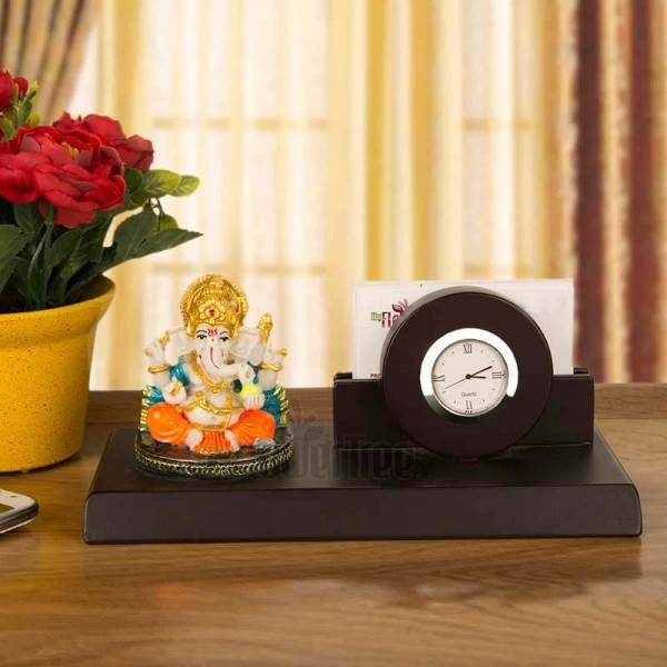Designer Table Pen Stand with Ganesha and Watch