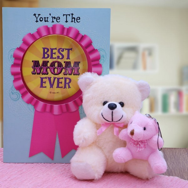 Best Mom Greeting Card with Teddy Bears