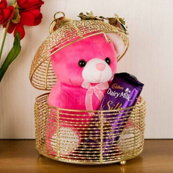 6 Inches Teddy and 1 Cadbury Dairy Milk Silk Chocolate (60 Gms) in a Cage