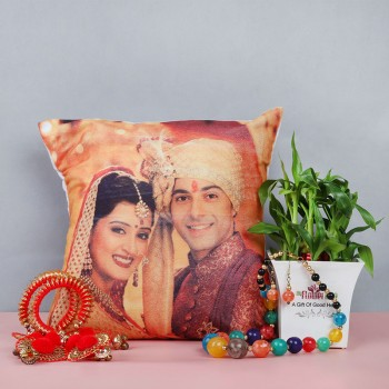 Set of two Layer Lucky Bambo in White Pot with One Multicolor Bead Neckpiece with earings, pair of Red Bangles and One Personalised LEd Cushion