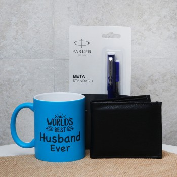 Gift Hamper of Blue Neon Mug with Parker Pen and Black Wallet for Husband