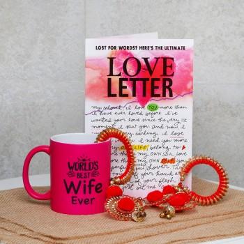 Best Wife Award Hamper of Pink Neon Mug and Designer Bangles