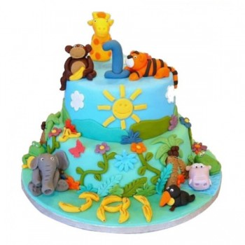 Jungle Book Theme 2 Tier Designer Chocolate Cake